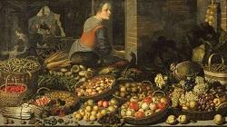 Floris van Schooten, Stilleven met groenten en fruit, met Christus in Emmaus op de achtergrond, 1651 Rijksmuseum, Amsterdam
