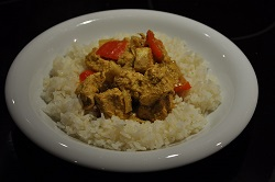 basmati rice flavored with coconut with curry chicken S