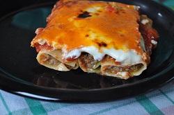 Cannelloni gefüllt mit Schmorbraten, die Küche mit Resten ...