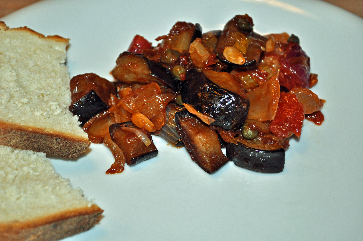 Sweet and sour caponata with aubergines