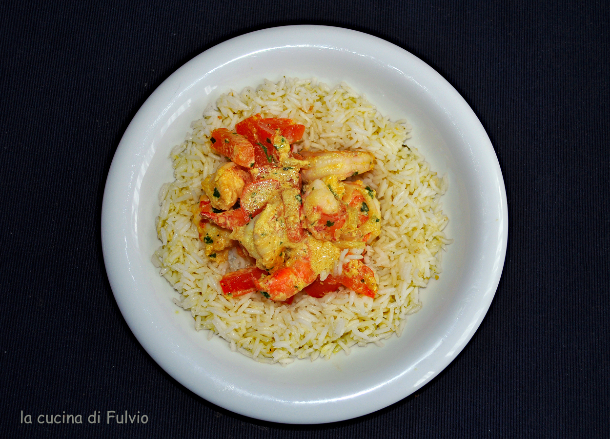 King prawn curry with coconut flavored rice