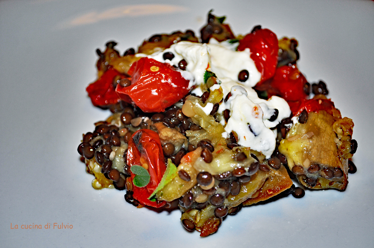 Lentil salad with roasted eggplant and confit cherry tomatoes