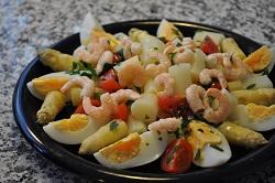 white Bassano asparagus salad