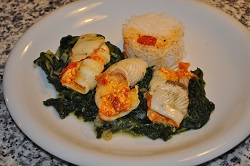 Rolls of plaice with spinach