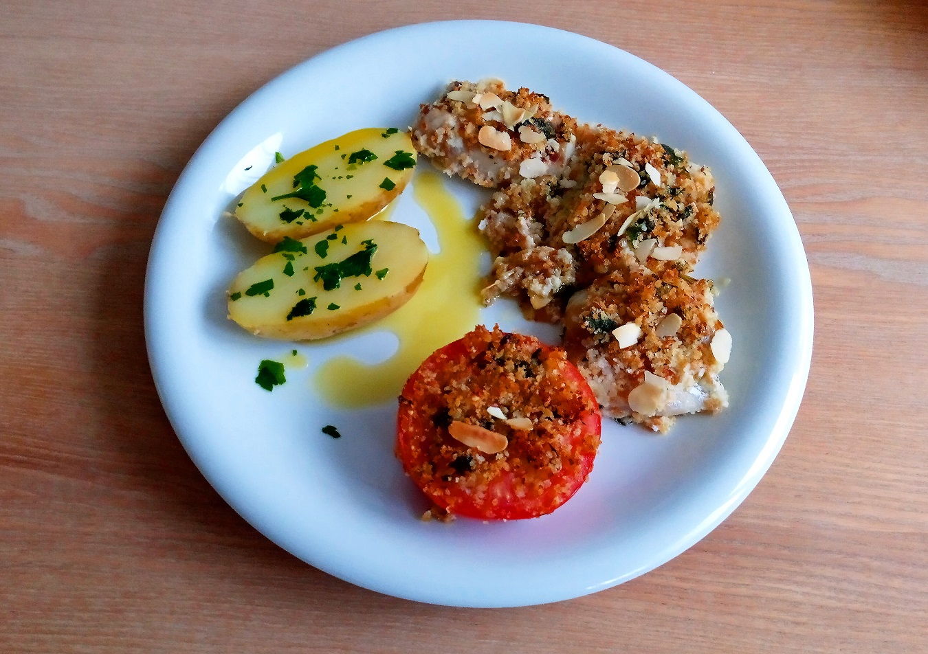 Baked cod with flavor breading