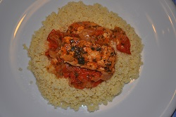 Sour cod with vegetables and couscous recipe light