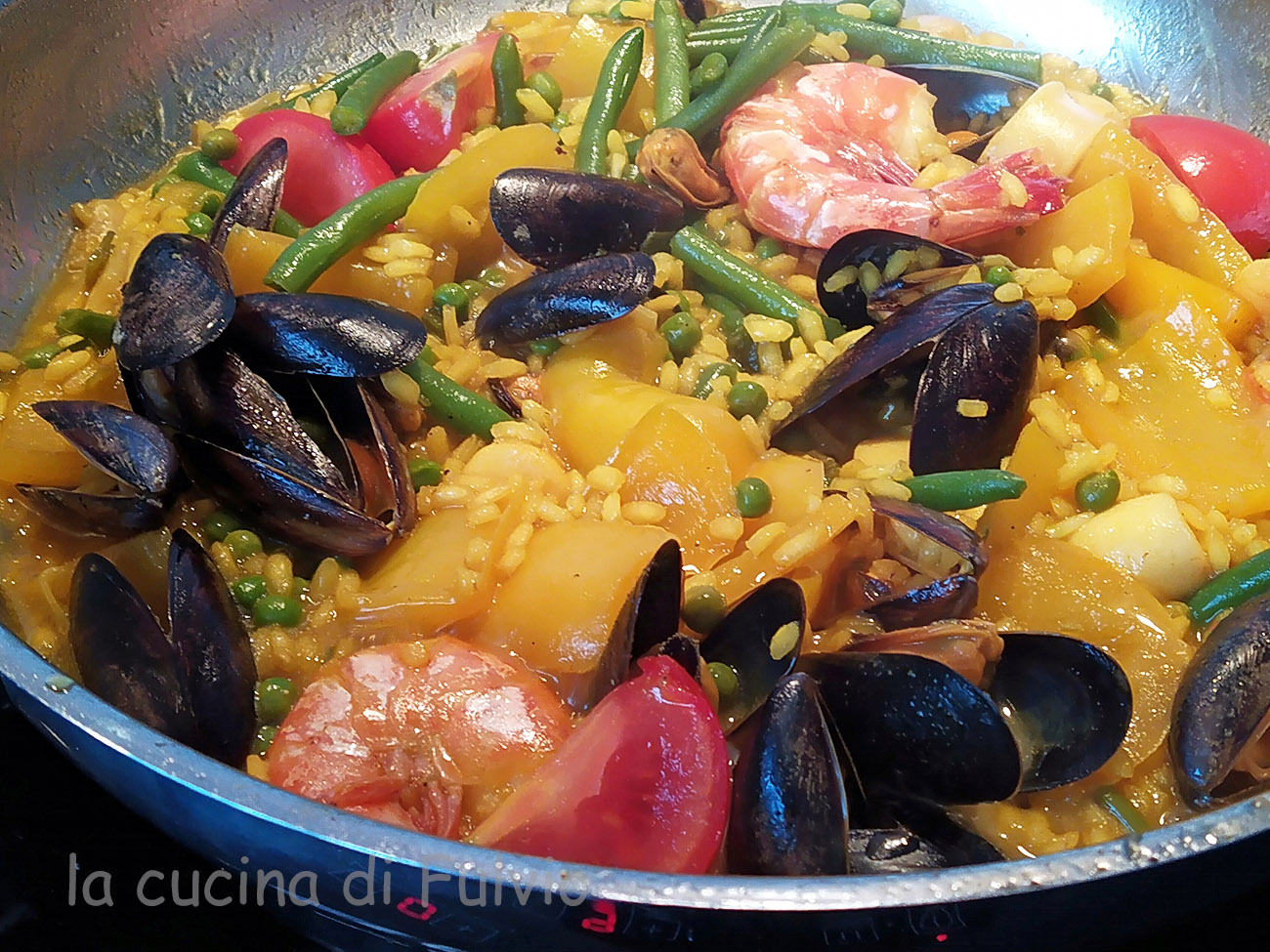 Paella with seafood!