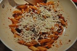 Pasta with sauce of eggplant parmigiana