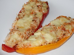 Peppers stuffed with rice and vegetables (vegetarian recipe)