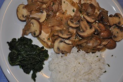 """The mushroom chicken breast in a """"light"""" version!"""