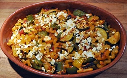 Baked pasta, feta and vegetables pie