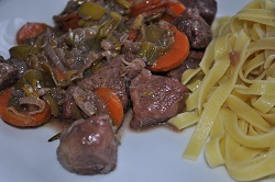 Stew of lamb and vegetables with noodles (light food)